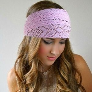 Accessories - FREE WITH PURCHASE NWT Pink Stretchy Lace Headband